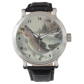 Vintage Rainbow Trout Fish, Fisherman Fishing Watches