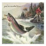 Vintage Rainbow Trout Fish Fisherman, Retirement Personalized Announcement