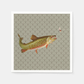 Vintage rainbow trout fly fishing disposable napkins