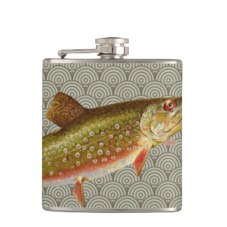Vintage rainbow trout fly fishing hip flask