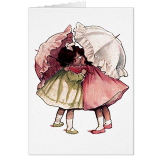 Vintage Rainy Day Girls Card