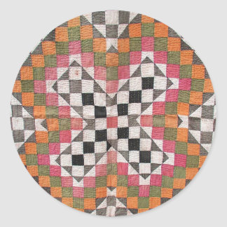 Vintage Ralli Quilt Orange Classic Round Sticker