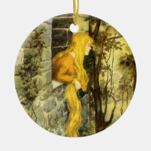 Vintage Rapunzel. Princess with Long Blonde Hair Christmas Ornaments