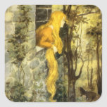 Vintage Rapunzel. Princess with Long Blonde Hair Square Sticker