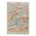 Vintage Raquette Lake New York Topographical Map Poster