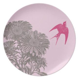 Vintage Raspberry Pink Bird Vintage Gerber Daisy Party Plate