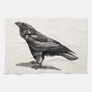 Vintage Raven Crow Blackbird Bird Illustration Tea Towel