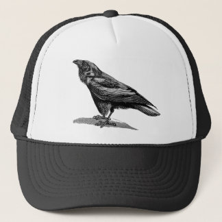 Vintage Raven Crow Blackbird Bird Illustration Trucker Hat