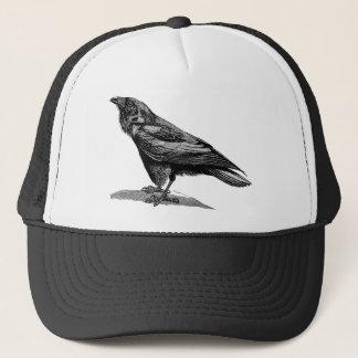 Vintage Raven Crow Blackbird Bird Illustration Trucker Hat