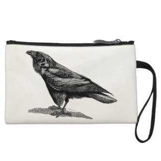 Vintage Raven Crow Blackbird Bird Illustration Wristlet