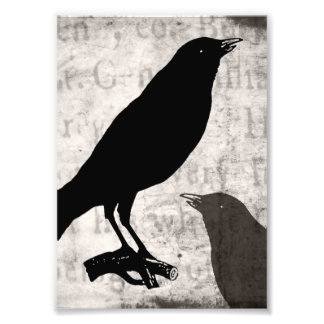 Vintage Raven Goth Collage Customized Birds Crow Photo Print