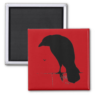 Vintage Raven on Blood Red Template Magnet