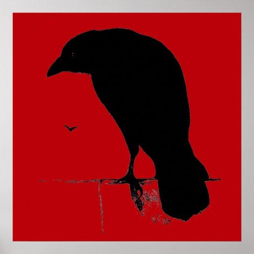 Vintage Raven on Blood Red Template Print