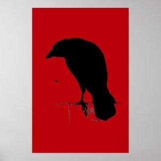 Vintage Raven on Blood Red Template Poster