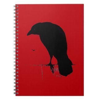 Vintage Raven on Blood Red Template Spiral Notebook