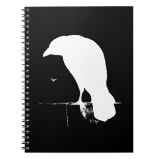 Vintage Raven Silhouette White on Black - Custom Notebooks