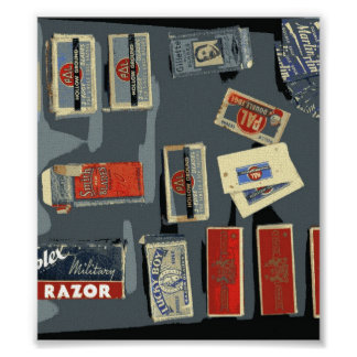 Vintage Razor Blade Brands Poster