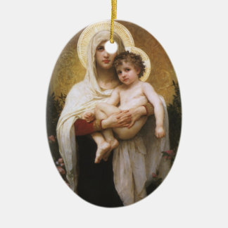 Vintage Realism, Madonna of the Roses, Bouguereau Christmas Ornament