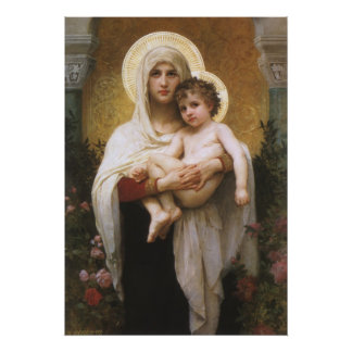 Vintage Realism, Madonna of the Roses, Bouguereau Poster