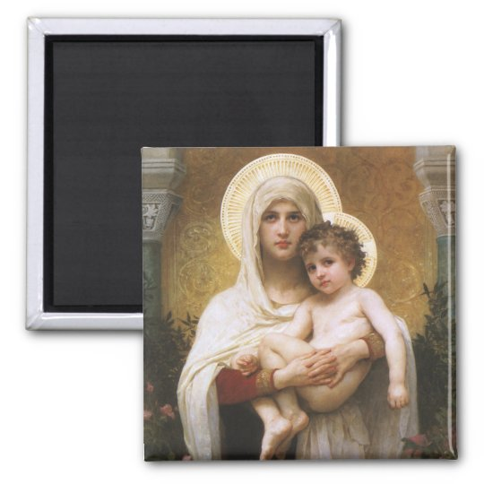 Vintage Realism, Madonna of the Roses, Bouguereau Square Magnet