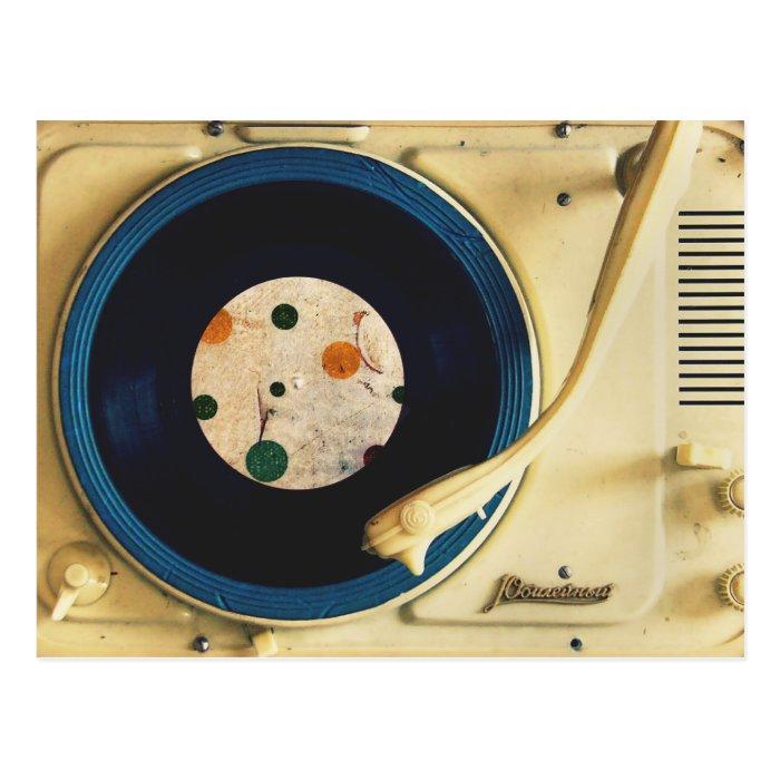 Vintage Record player Postcard