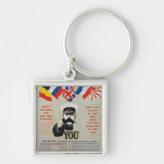 vintage recruitment  poster Silver-Colored square key ring