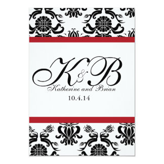 "vintage red 5"" x 7"" invitation card"