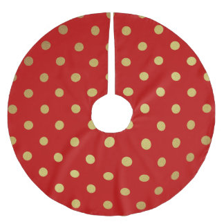 Vintage Red and Gold Polka Dots Brushed Polyester Tree Skirt