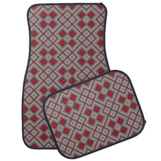 Vintage Red And Gray Geometric Abstract Pattern Car Mat