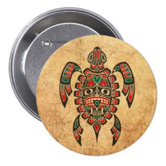 Vintage Red and Green Haida Spirit Sea Turtle 7.5 Cm Round Badge