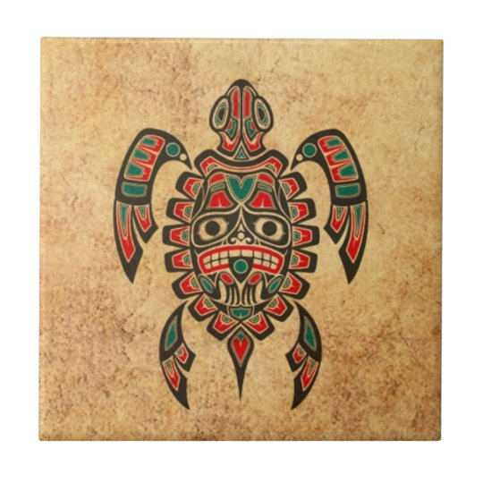 Vintage Red and Green Haida Spirit Sea Turtle