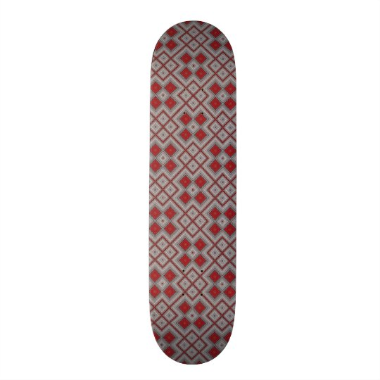 Vintage Red And Grey Geometric Abstract Pattern Skateboard