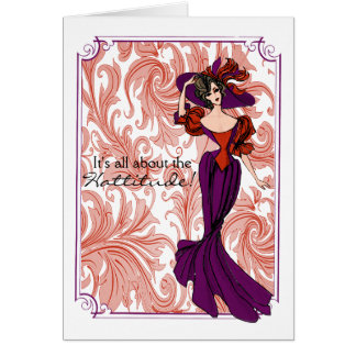 Vintage Red and Purple Lady Illustration Card