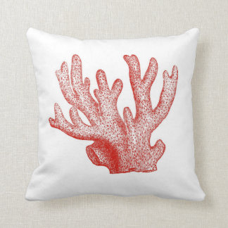 Vintage Red and Striped Coral Reef Throw Pillow