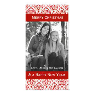 Vintage Red and White Christmas Damask Photo Greeting Card