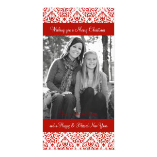 Vintage Red and White Christmas Damask Picture Card