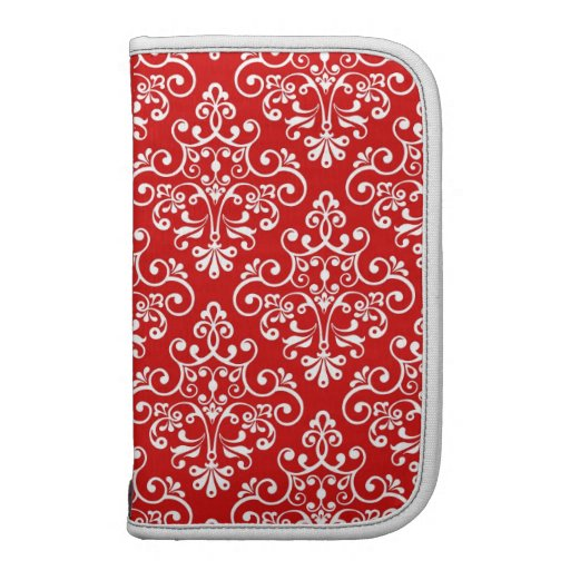 Vintage Red and White Damask Pattern Day Planner