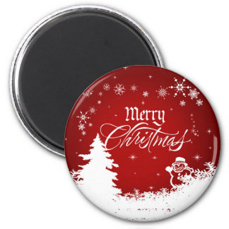 Vintage Red and White Merry Christmas Script Magnet