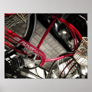 Vintage Red Bicycle #2 Rustic Industrial Poster