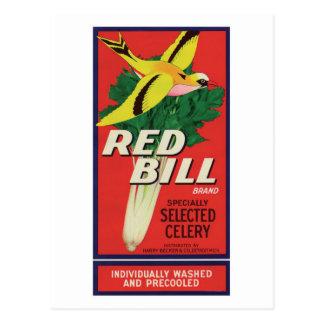 Vintage Red Bill Celery Label Postcard