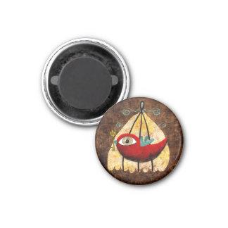 Vintage Red Bird 3 Cm Round Magnet
