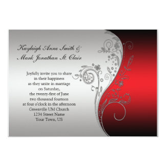 Vintage Red Black and Silver Wedding Invitation