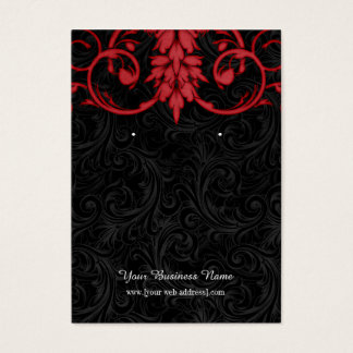Vintage Red Black Custom Earring Card