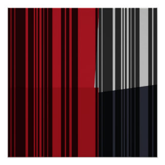 Vintage Red Black Grey Stripes Art Pattern Poster