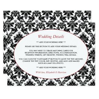 Vintage Red, Black & White Damask Wedding Detail 11 Cm X 16 Cm Invitation Card