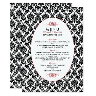 Vintage Red, Black & White Damask Wedding Menu 11 Cm X 16 Cm Invitation Card