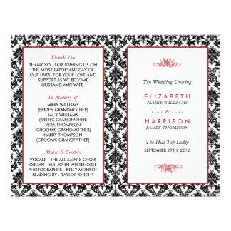 Vintage Red, Black & White Damask Wedding Program 21.5 Cm X 28 Cm Flyer