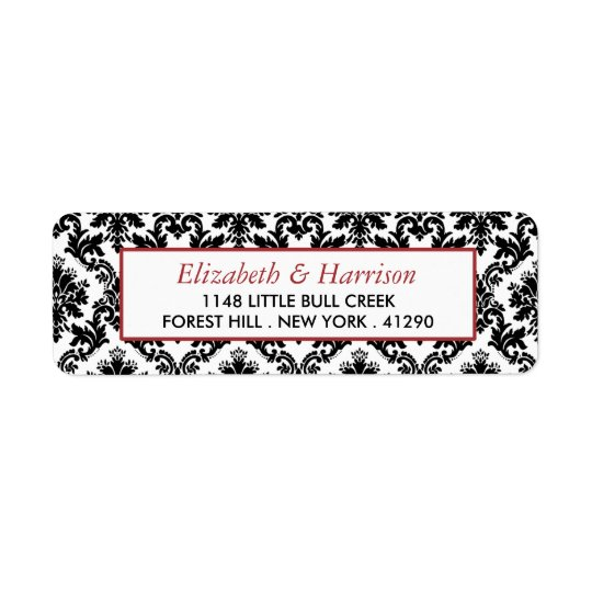 Vintage Red, Black & White Damask Wedding Return Address Label