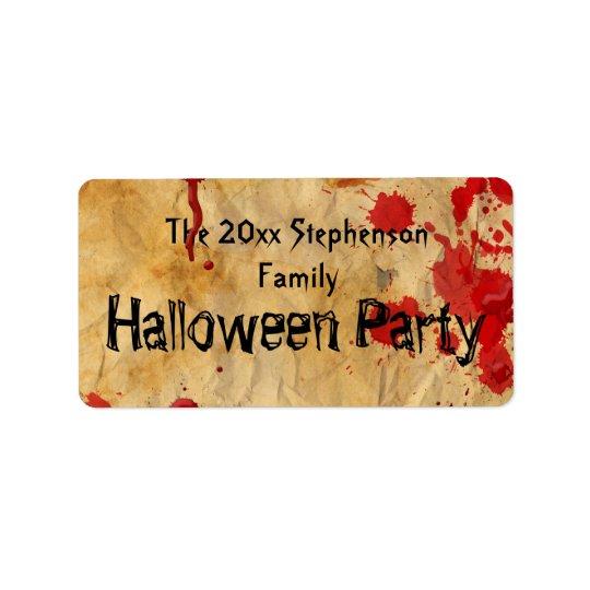 Vintage Red Blood Splatter Halloween Party Address Label