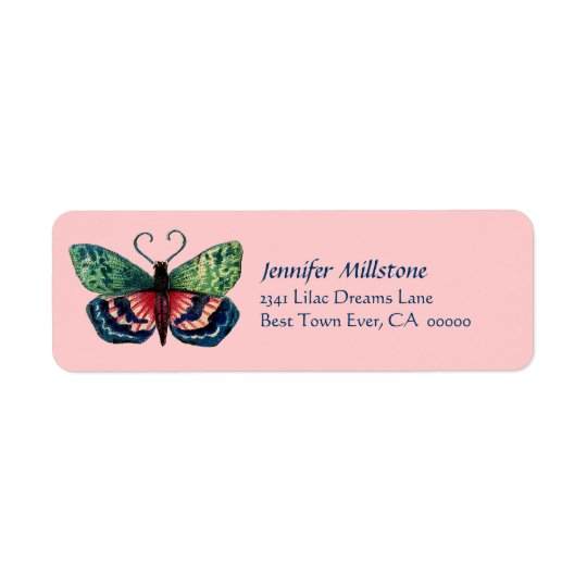 Vintage Red Blu Green Pink Butterfly Address Label